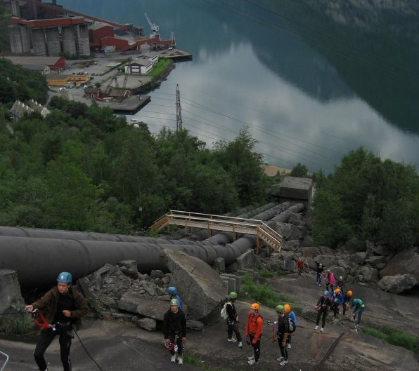 Climbing the Via Ferrata in Tyssedal, Norway