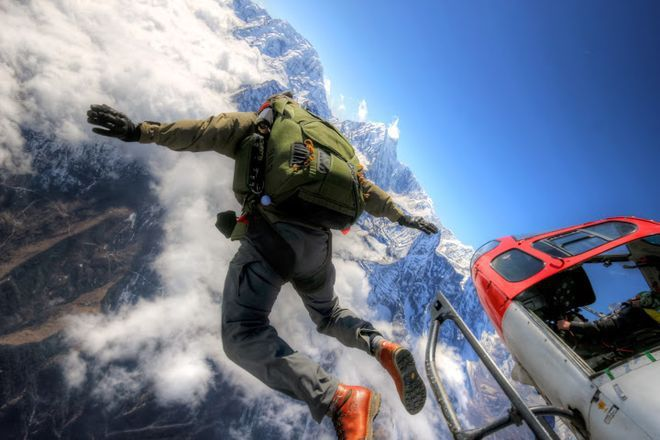 Skydiving in Front of Mount Everest